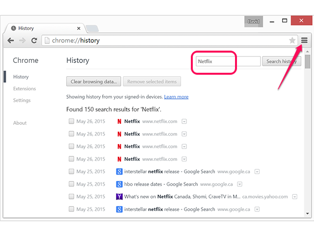 Delete Netflix history from Chrome using the Menu.