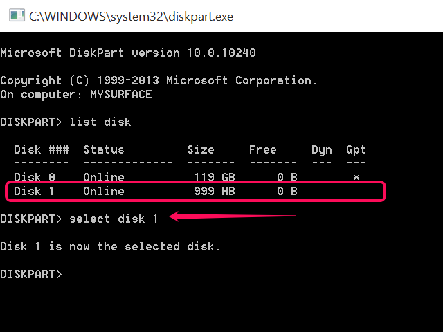 Type select disk.