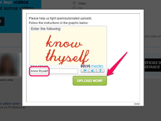 CAPTCHA security code and Upload Now button.