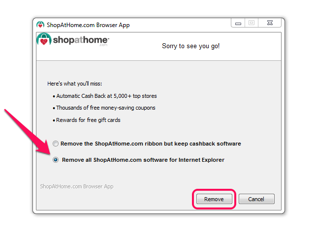 ShopAtHome.com uninstaller, with Remove All option selected and Remove button highlighted.