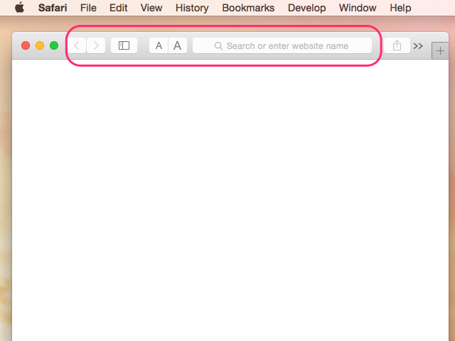 The default Safari view, with the Toolbar and nothing else
