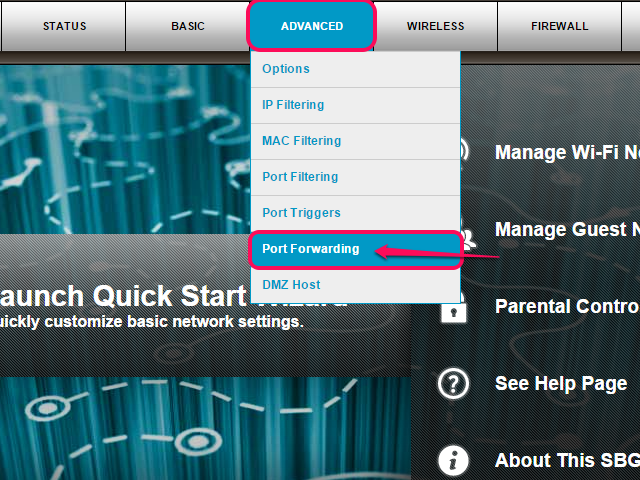 Select Port Forwarding from the Advanced menu.