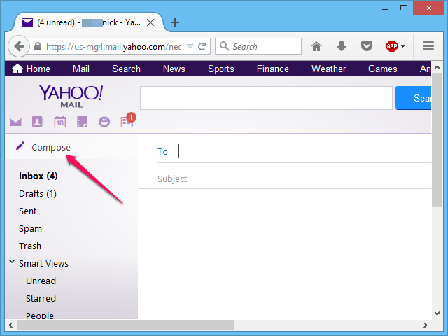 Creating a new email in Yahoo Mail.