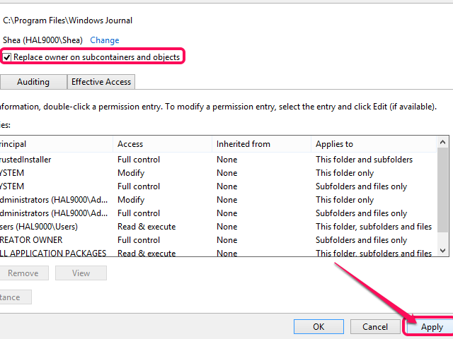 You can also click OK from the Advanced Security Settings dialog to achieve the same effect as clicking Apply.