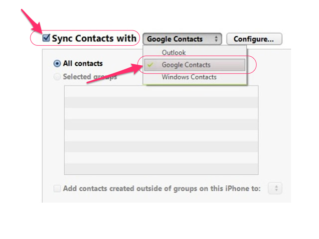 Select Google Contacts.