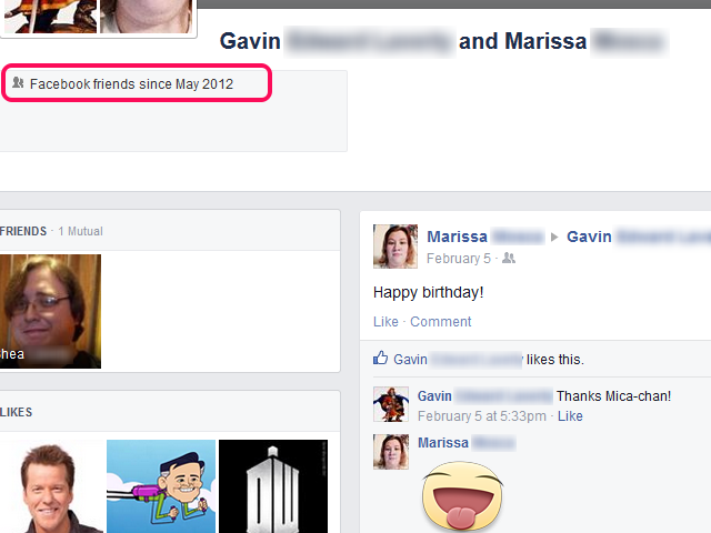 The Friendship page, with the information box highlighted.