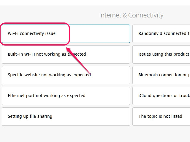 If there isn't a topic that describes your product's problem, select The Topic Is Not Listed.
