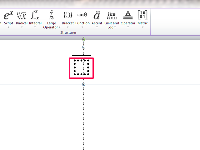 The overbar comes with a text box in which to position the letter.