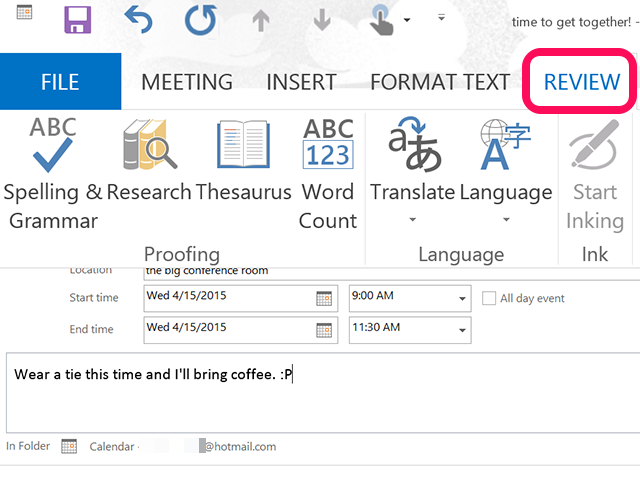 how to create a pick-a-meeting request outlook 2016