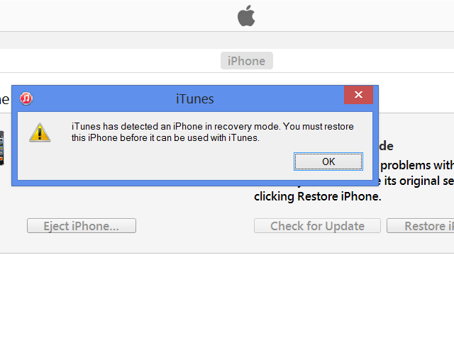 iTunes recovery mode notification