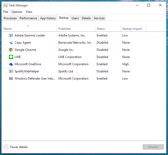 Task Manager, detailed view