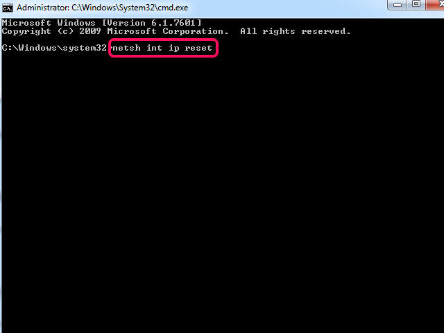 Command Prompt window with Netsh Int Ip Reset command highlighted.