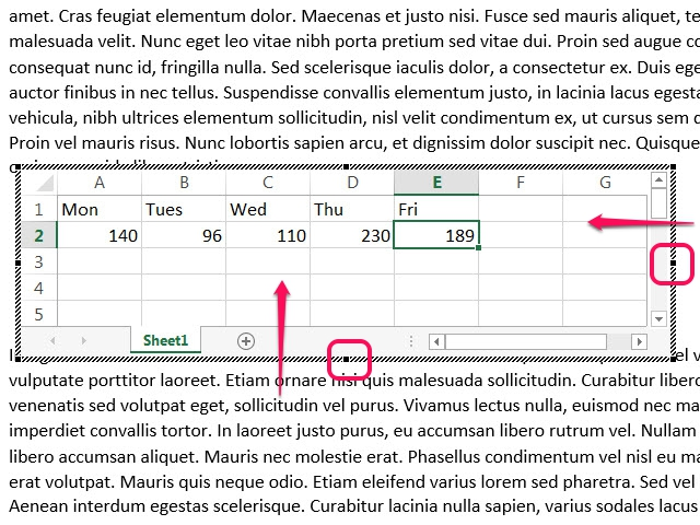 Use the spreadsheet's handles to change the number of rows and columns.