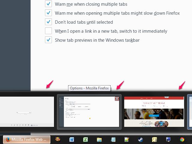 Taskbar tab previews