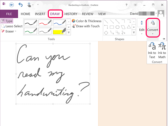 Convert handwritten text in OneNote.