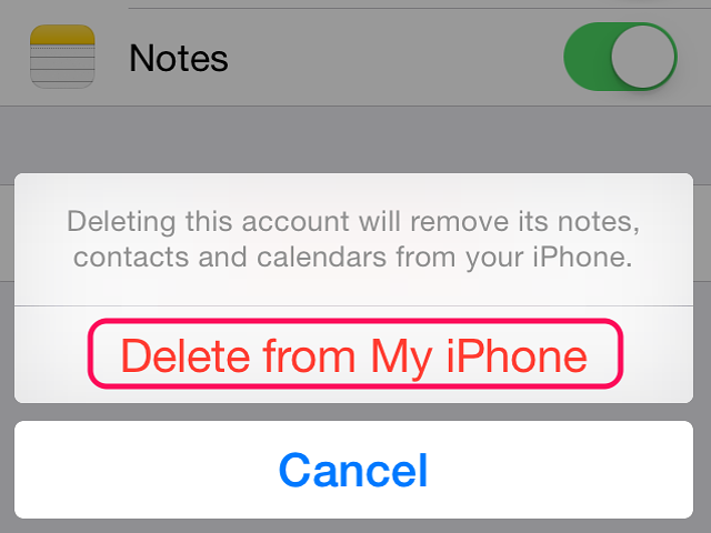 Tap Delete From My iPhone to remove the account