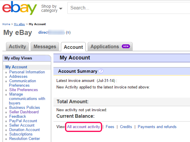My eBay Account page, with All Account Activity link highlighted.