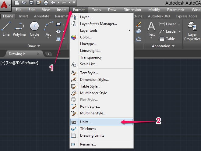 Click on the format menu option then click on units. Change type to architectural then click OK.
