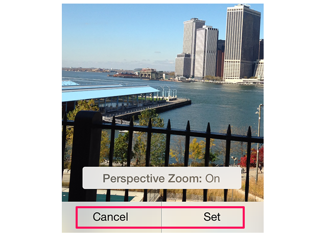 Set an iPhone wallpaper with perspective zoom