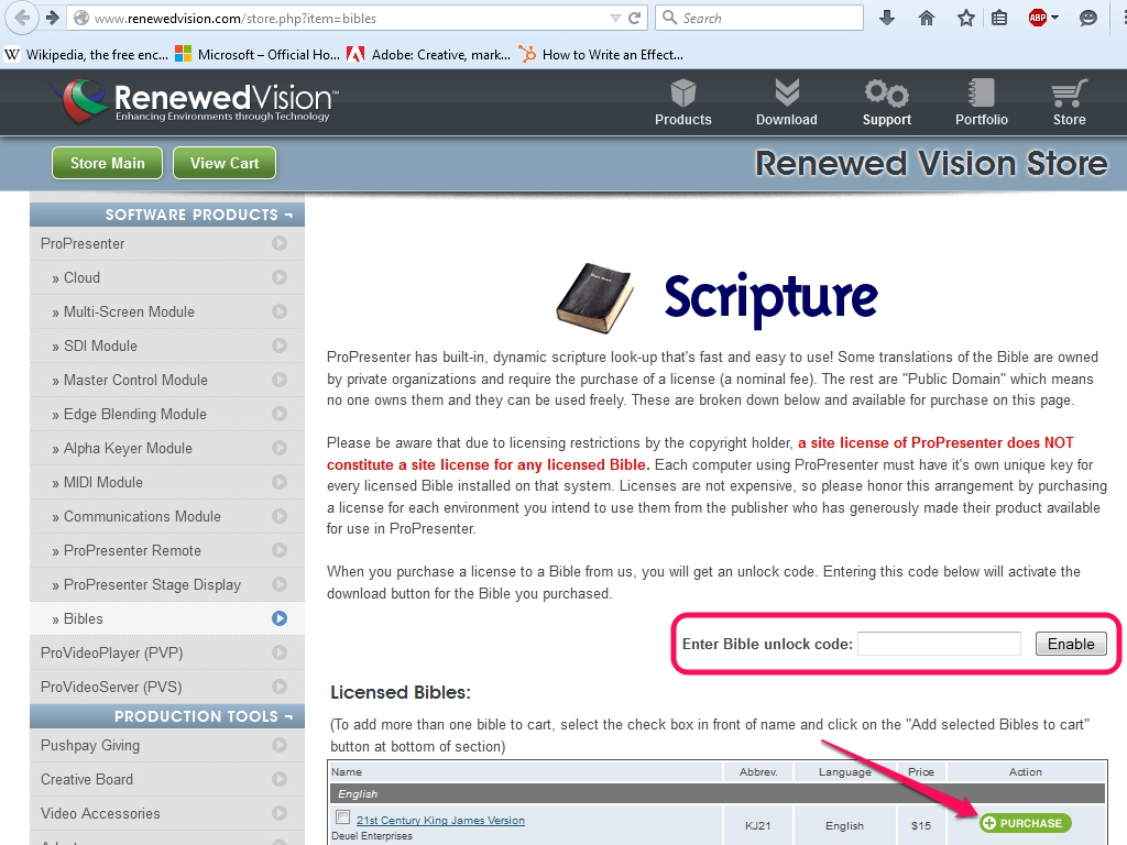 The Bibles page on Renewed Vision.