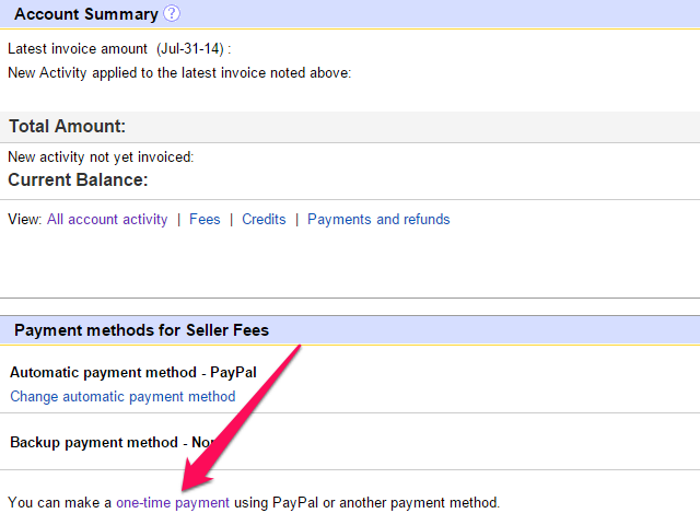 My eBay Account page, with One-time Payment link highlighted.