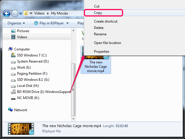 Selecting Copy from the context menu in File Explorer.