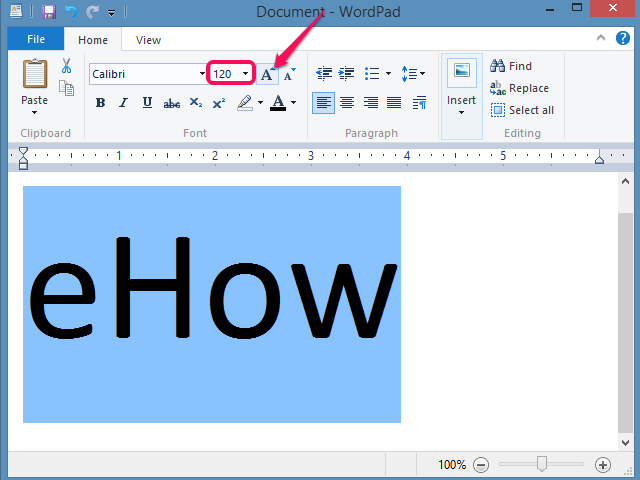 WordPad's toolbar enables direct adjustments to font size.
