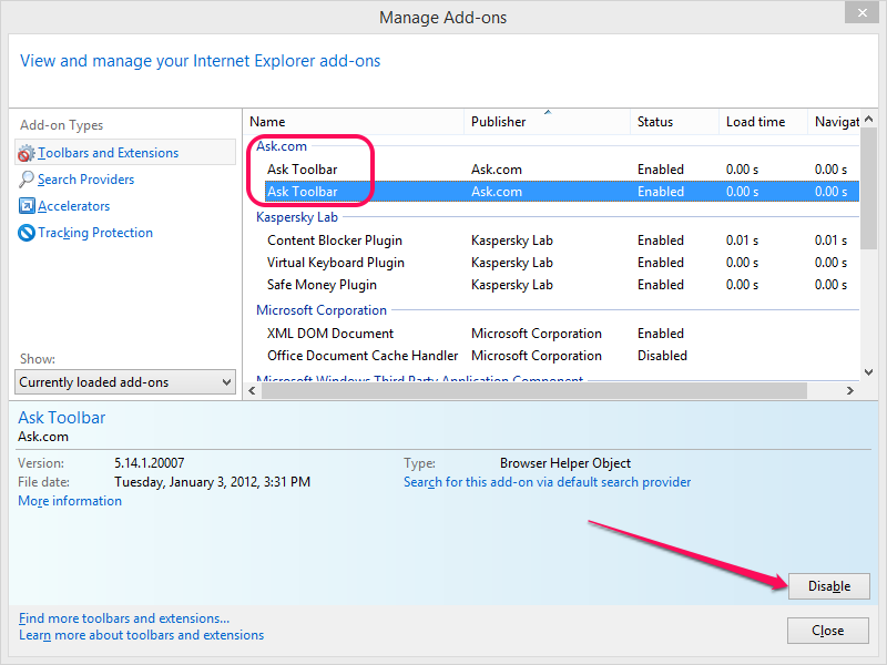 Disabling the Ask add-ons in Internet Explorer.