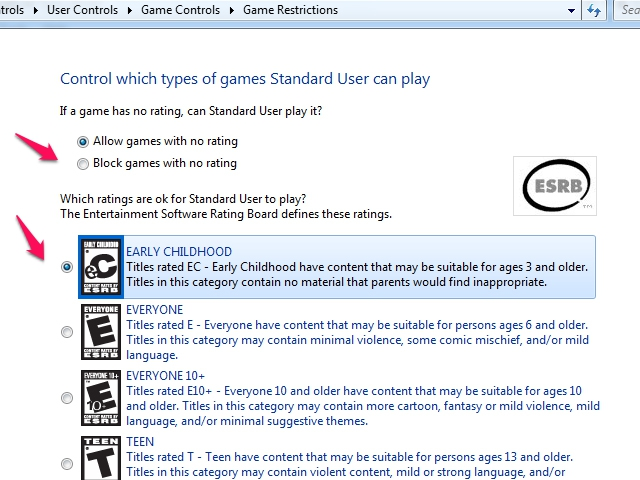 Set permissions by game ratings.