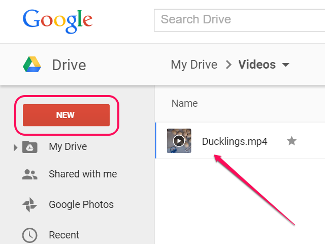 Upload the video to Google Drive.