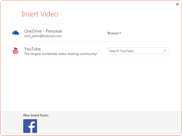 The Insert Video dialog in PowerPoint.