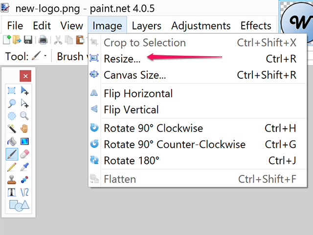 Select Resize from the Image menu.