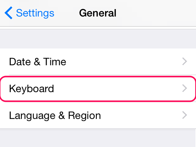 Select Keyboard to open the iPhone's keyboard settings.