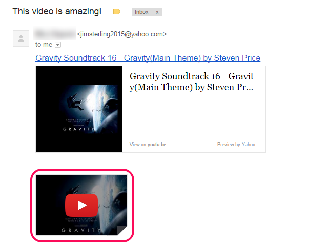 Gmail email with YouTube thumbnail highlighted.