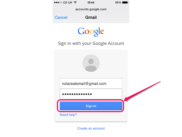 Signing in to Gmail on an iPhone.