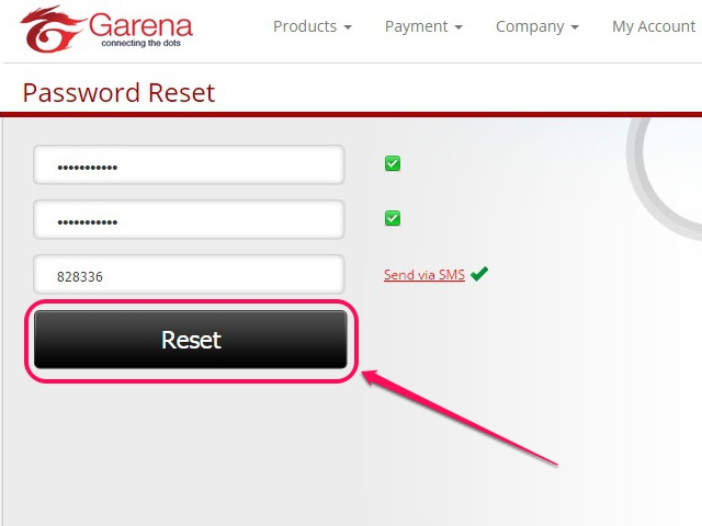 Enter password and click Reset.