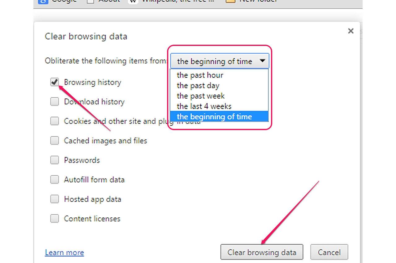Deleting The History In Chrome