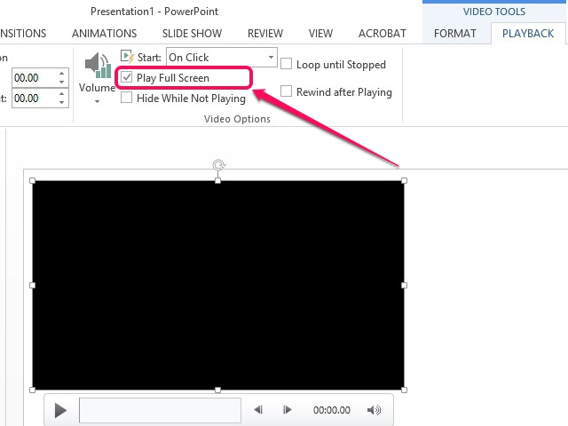 Configure the video to play in full-screen mode.
