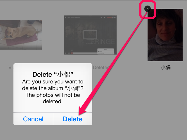 A confirmation window asks you to confirm that you want to delete the album.