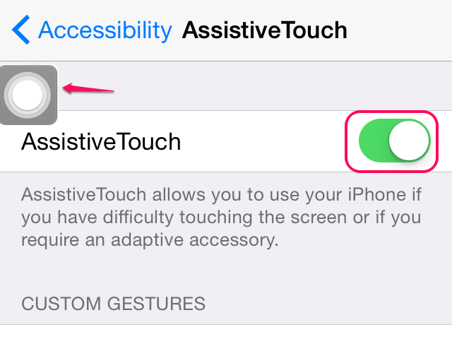 AssistiveTouch enabled