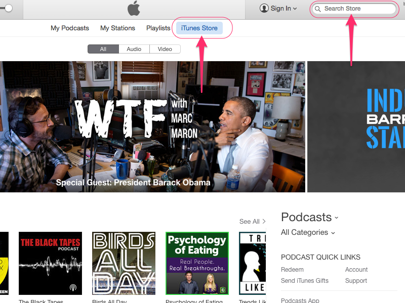 Click iTunes Store and search for the podcast