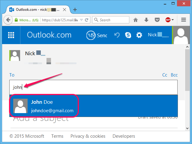 Inserting a contact into the recipients list.