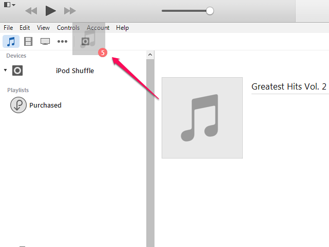 Drag the music to the iPod's icon.
