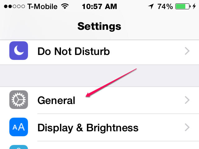 Click General in the Settings App