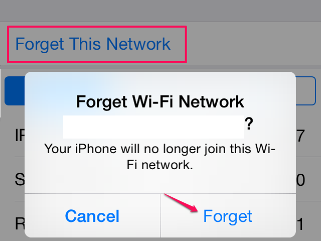The iPhone removes the network from its system when you tap Forget.
