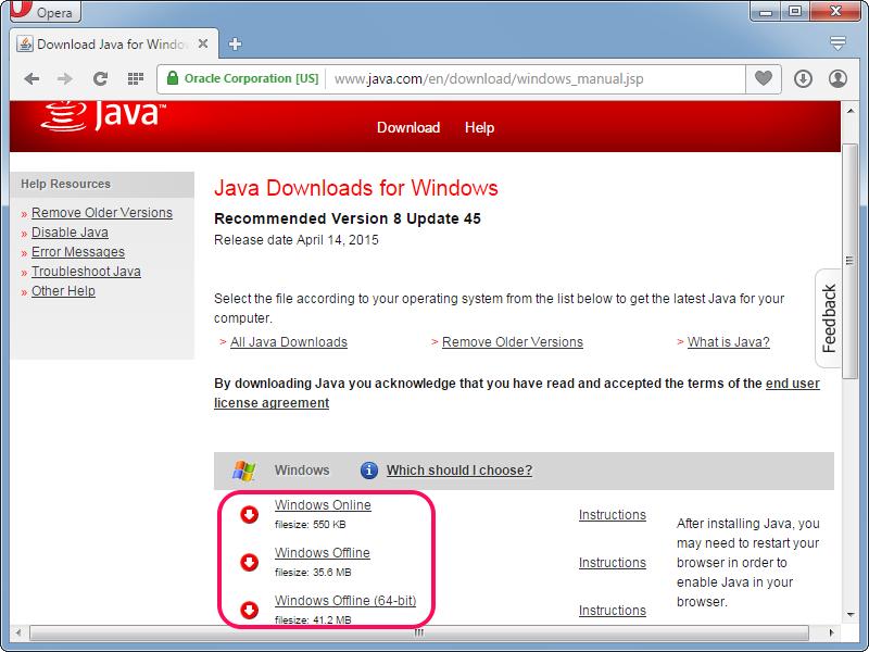 Downloading the Java installer.