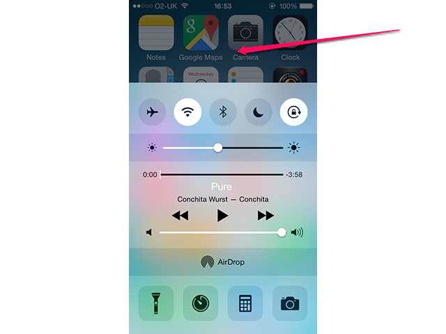 The iPhone's Control Center.