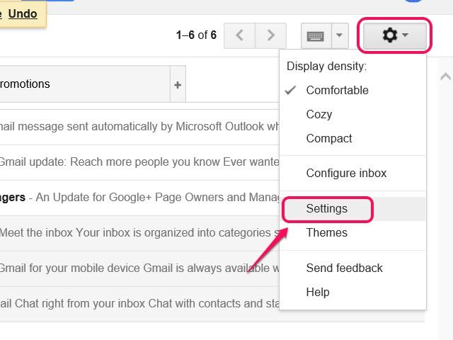 The Gmail Settings toolbar.