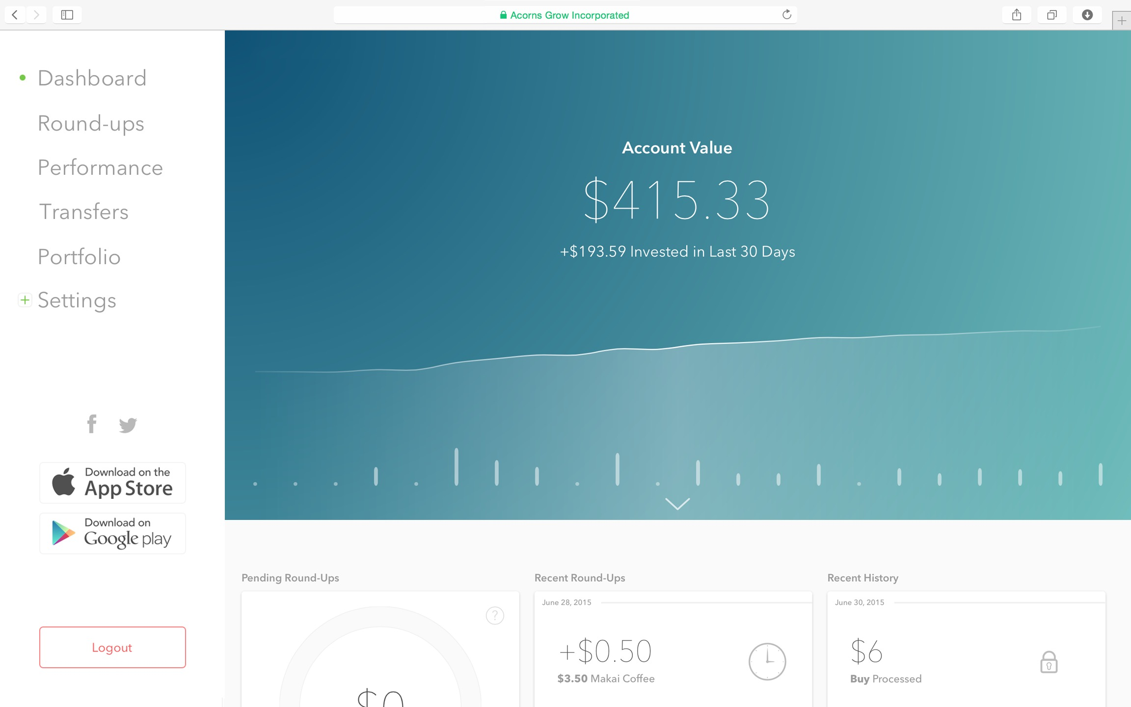 Acorns website.