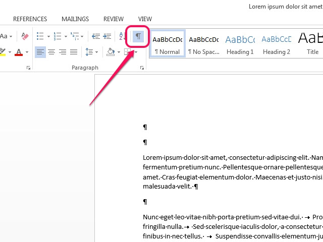 Display your document's formatting marks.